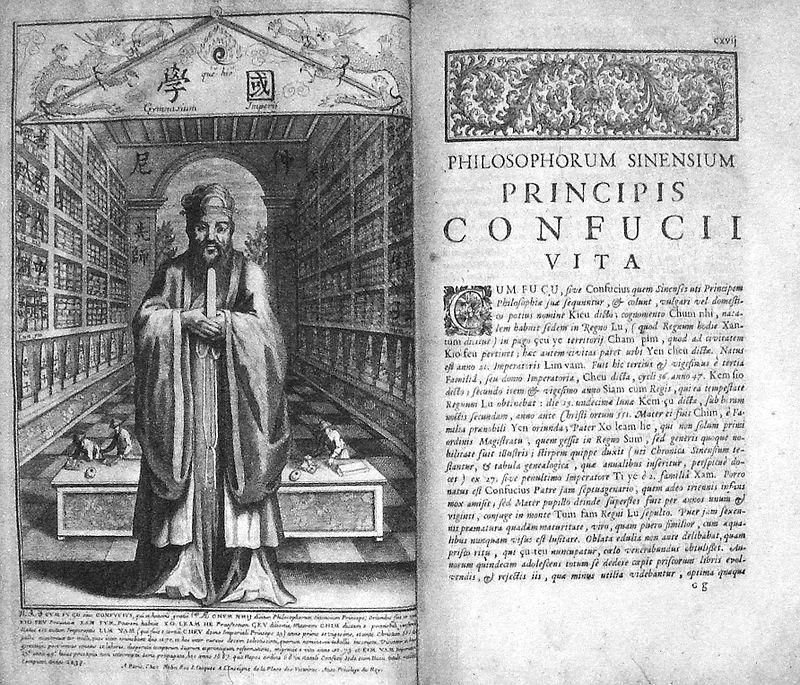 """Life And Works Of Confucius"", Prospero Intorcetta, et al., 1687, autor Prospero Intorcetta, Philippe Couplet et al, Wikipedia."