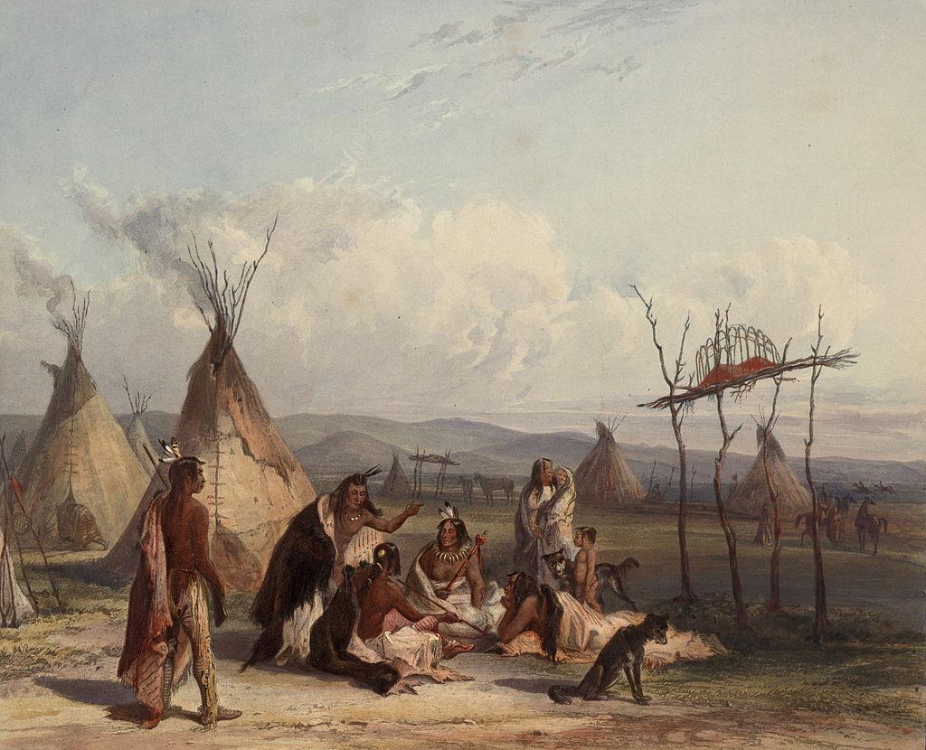 Funeraliile unui sef Sioux, pictura de Karl Bodmer, Wikipedia.