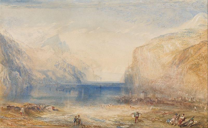 Dimineata la Fluelen privind lacul, pictura de J.M.W. Turner. Sursa Wikipedia.