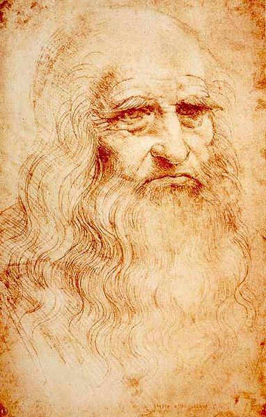 Autoportret de Leonarod Da Vinci, cca 1510 - 1515. Torino, Royal Library. Sursa Wikipedia.
